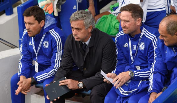Chelsea dugout with Jose Mourinho